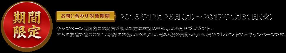 期間限定 お問い合わせ対象期間 2016年12月26日(月)から2017年1月21日(火)キャンペーン期間内にお問合せ頂いた方にお祝い金30,000円をプレゼント、さらに抽選で選ばれた10名様にお祝い金30,000円の3倍の合計90,000円をプレゼントするキャンペーンです。